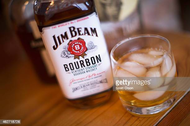 Jim Beam bourbon is shown on February 3 2015 in Chicago Illinois Sales of US produced bourbon and Tennessee whiskeys were up 74 percent in 2014 The...