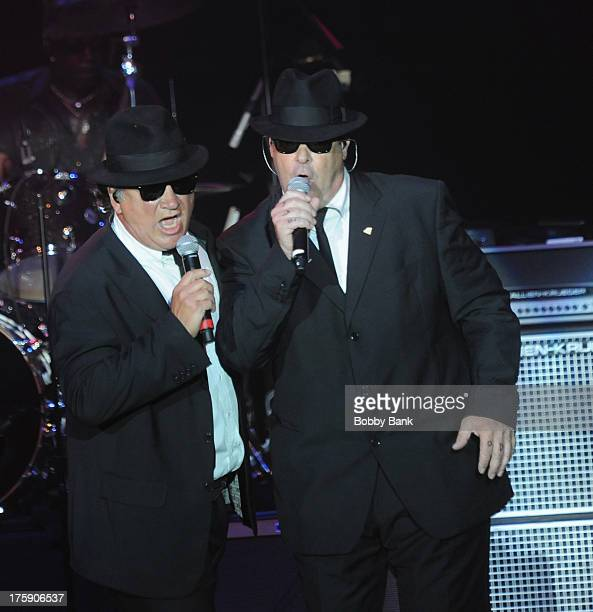Jim Belushi and Dan Aykroyd as 'Zee and Elwwod Blues' at The Paramount Theater on August 9 2013 in Huntington New York