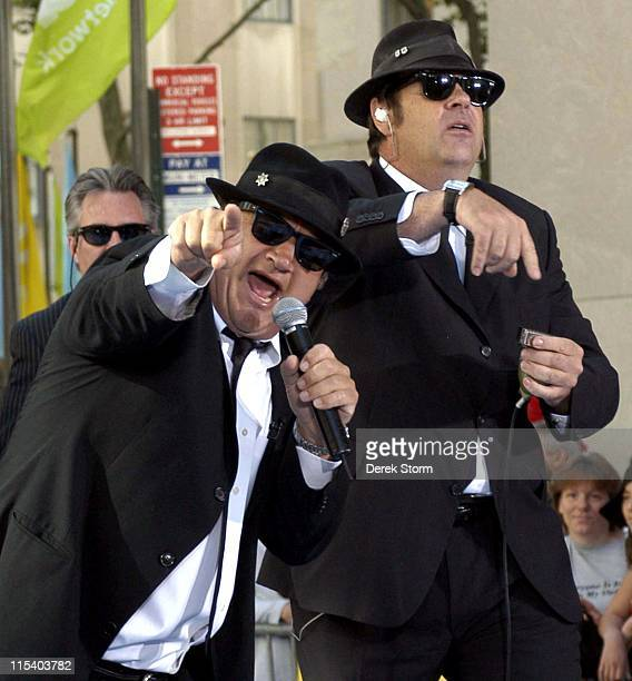Jim Belushi and Dan Aykroyd of The Blues Brothers during Jim Belushi and Dan Aykroyd of The Blues Brothers and Hulk Hogan Visit the Weekend Today...