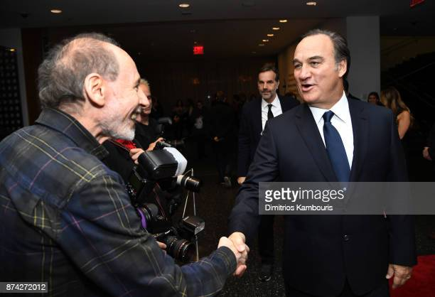 Jim Belushi greets the photographers at the 'Wonder Wheel' screening at Museum of Modern Art on November 14 2017 in New York City