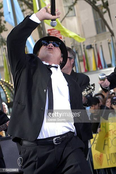 Jim Belushi of The Blues Brothers during Jim Belushi and Dan Aykroyd of The Blues Brothers and Hulk Hogan Visit the Weekend Today Show Early Edition...