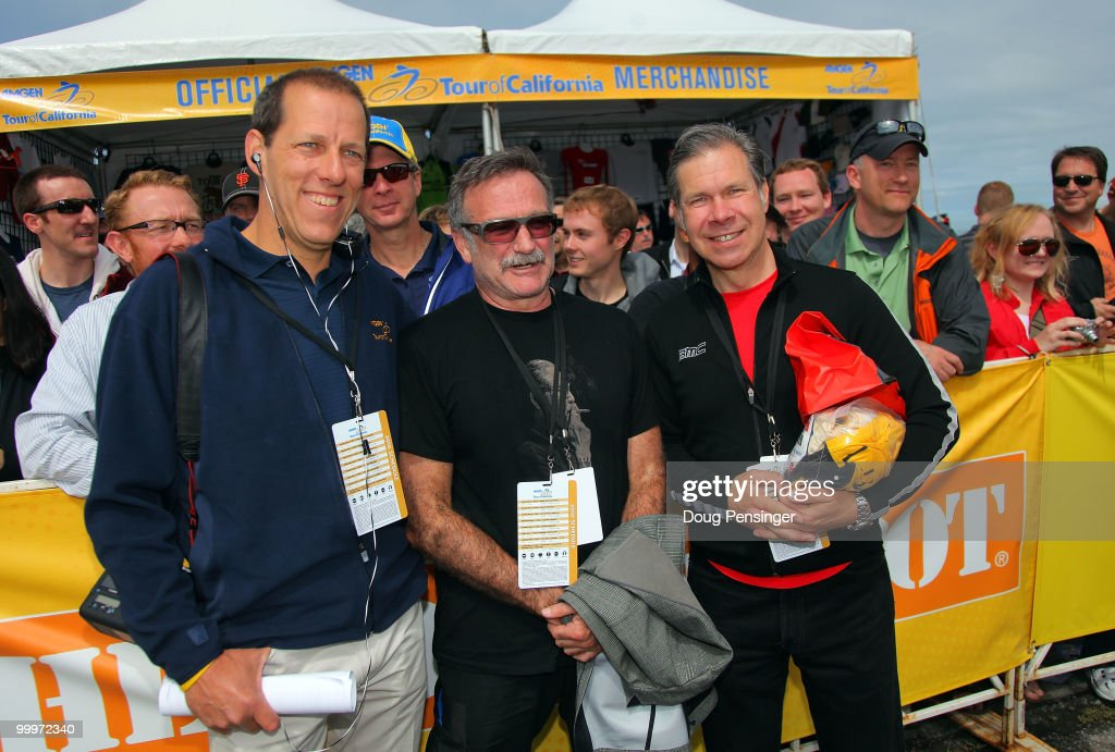 Jim Birrell, Race Director, Robin Williams, Comedian, and Jim Ochowicz, Liason for BMC Racing pose for a photo at the start of Stage Three of the 2010 Tour of California from San Francisco to Santa Cruz on May 18, 2010 in San Francisco, California.