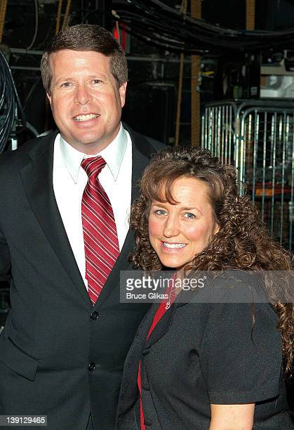 """Jim Bob Duggar and Michelle Duggar pose backstage at the hit musical """"Godspell"""" on Broadway at The Circle in The Square Theater on February 16, 2012..."""