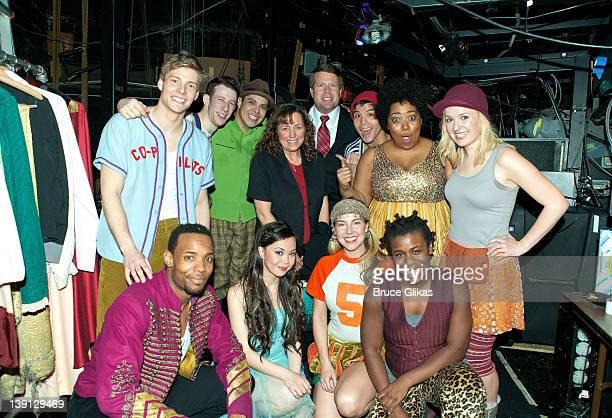 """Jim Bob Duggar and Michelle Duggar pose with the cast backstage at the hit musical """"Godspell"""" on Broadway at The Circle in The Square Theater on..."""