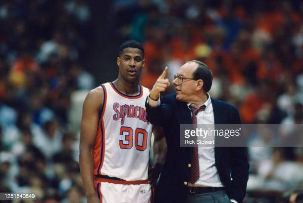 Jim Boeheim Head Coach and Billy Owens Center for the University of Syracuse Orange men's basketball teamduring the 1989/90 NCAA Atlantic Coast...