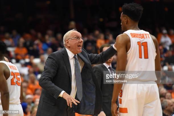 Jim Boeheim #Head coach of the Syracuse Orange reacts to Oshae Brissett of the Syracuse Orange during the second half of play between the Syracuse...