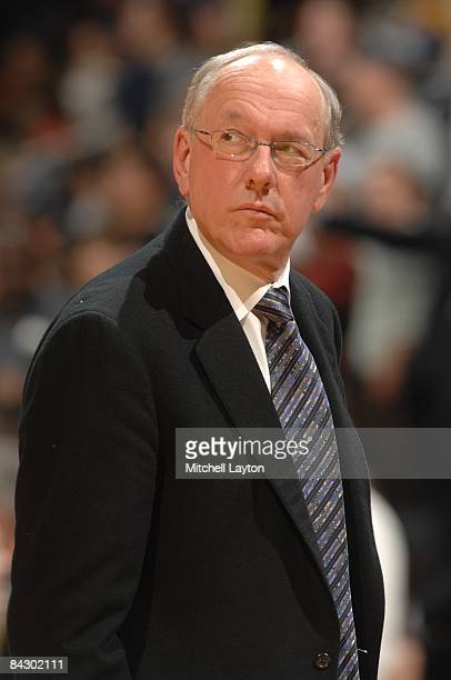 Jim Boeheim, head of the Syracuse Orange, looks on during a college basketball game against the Georgetown Hoyas on January 14, 2009 at Verizon...