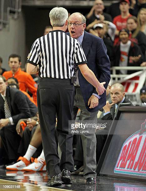 Jim Boeheim the Head Coach of the Syracuse Orange argues with game offical Brian O'Connell during the Big East Conference game against the Louisville...
