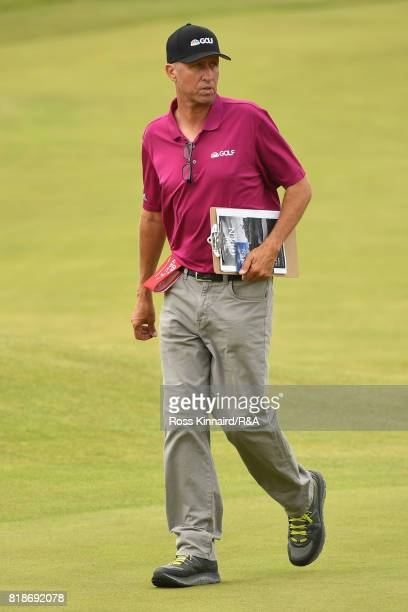 Jim 'Bones' Mackay looks on during a practice round prior to the 146th Open Championship at Royal Birkdale on July 19 2017 in Southport England