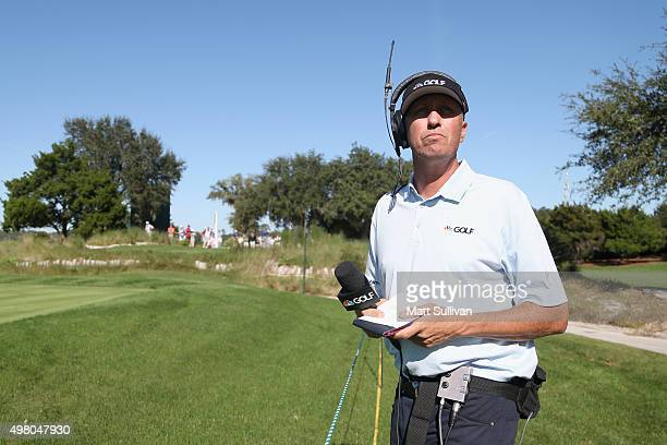 Jim 'Bones Mackay works as a course reporter for The Golf Channel on the 9th tee of the Seaside Course during the second round of The RSM Classic on...