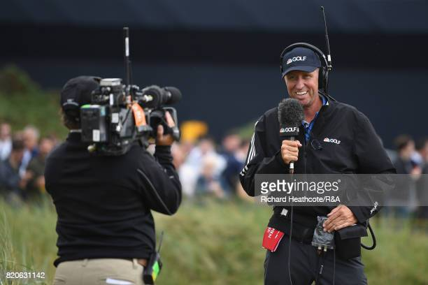 Jim 'Bones' Mackay works for NBC Golf during the third round of the 146th Open Championship at Royal Birkdale on July 22 2017 in Southport England
