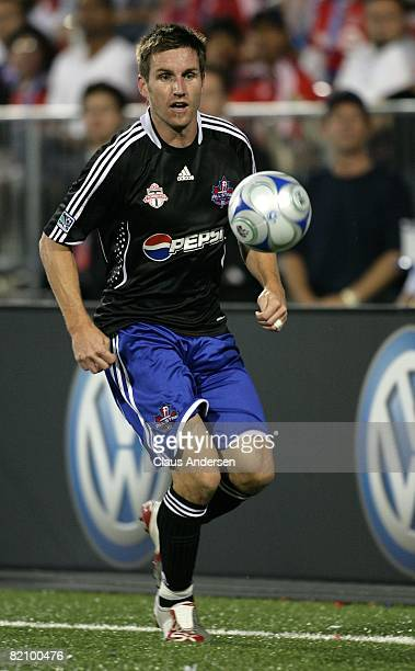Jim Brennan dribbles the ball during the 2008 Pepsi MLS All-Star Game between the MLS All-Stars and West Ham United at BMO Field on July 24, 2008 in...