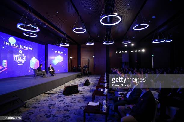 Jim Breyer Founder and CEO of Breyer Capital speaks with Geoff Cutmore of CNBC during Fireside Chat on Day 2 of CNBC East Tech West at LN Garden...