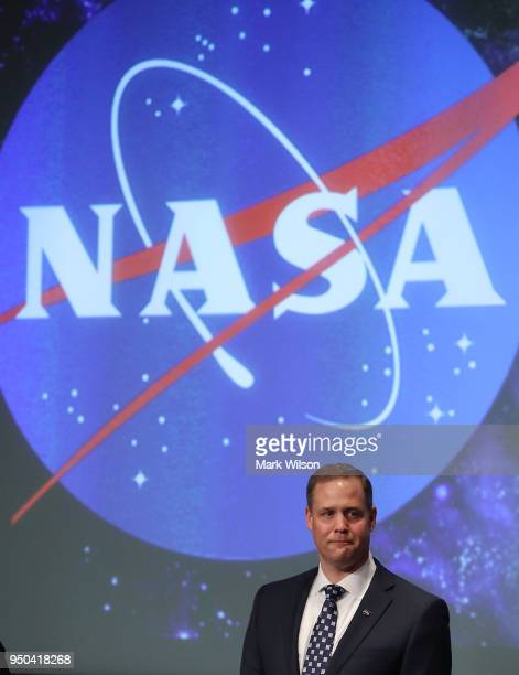 Jim Bridenstine speaks after he was sworn in as NASA's new administrator by Vice President Mike Pence during a ceremonial swearing in at NASA...