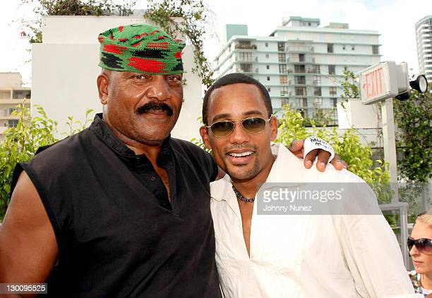 Jim Brown and Hill Harper during 2005 MTV VMA John Singelton Party Hosted by DJ Biz Markie and Snoop Dogg at Sanctuary Hotel in Miami Florida United...