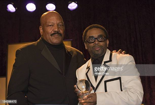 Jim Brown and Spike Lee during 50th Annual San Francisco International Film Festival Film Society Awards Night at Westin St Francis Hotel in San...