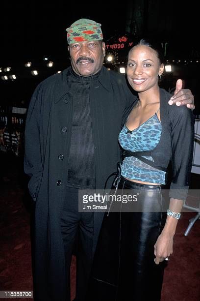 Jim Brown And Wife Monique during Any Given Sunday Los Angeles Premiere at Mann Village Theatre in Westwood California United States