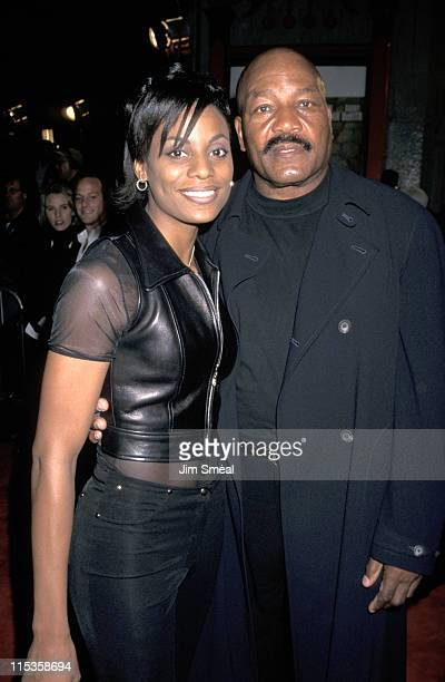 Jim Brown And Wife Monique during Mars Attacks Los Angeles Premiere at Manns Chinese Theater in Hollywood California United States