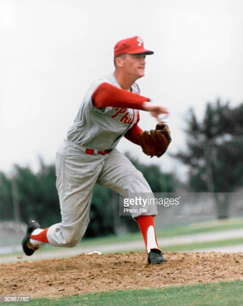 Jim Bunning of the Philadelphia Phillies poses for an action portrait Bunning played for the Phillies from 19641967 and returned in 19701971