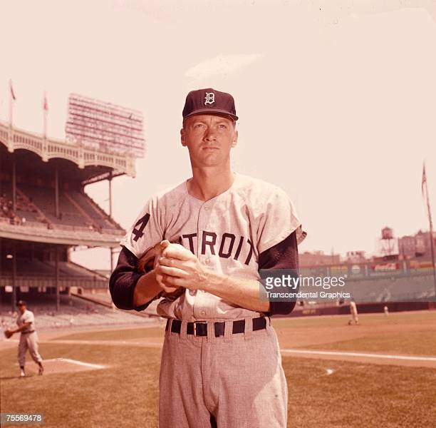 Jim Bunning pitcher for the Detroit Tigers is preparing for a game in New York at Yankee Stadium in 1962
