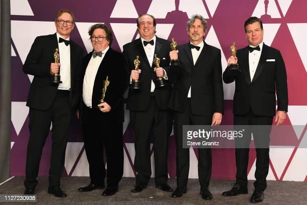Jim Burke Charles B Wessler Nick Vallelonga Peter Farrelly and Brian Currie winners Best Original Screenplay award for 'Green Book' poses in the...