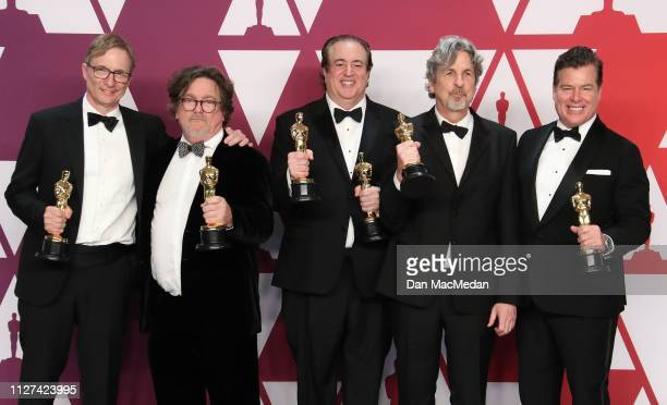 Jim Burke Charles B Wessler Nick Vallelonga Peter Farrelly and Brian Currie winners of Best Picture for 'Green Book' pose in the press room at the...