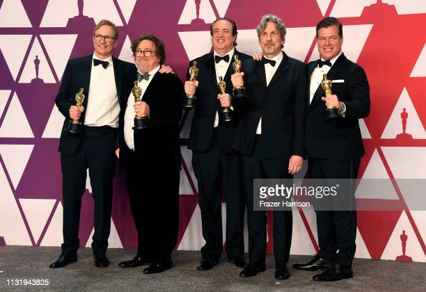 Jim Burke Charles B Wessler Nick Vallelonga Peter Farrelly and Brian Currie winners of Best Picture for Green Book pose in the press room during the...