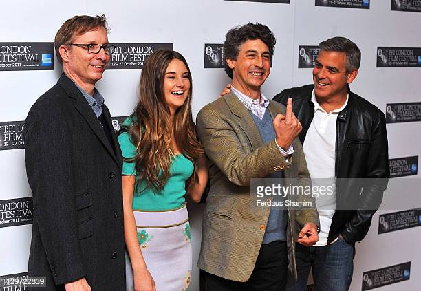 Jim Burke Shailene Woodley Alexander Payne and George Clooney promote The Descendants at The 55th BFI London Film Festival at Odeon West End on...