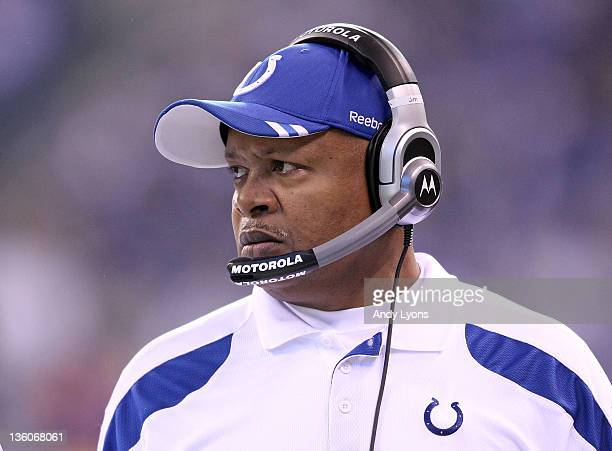 Jim Caldwell the head coach of the Indianapolis Colts watches the action during Colts 2713 win over the Tennessee Titans in the NFL game at Lucas Oil...