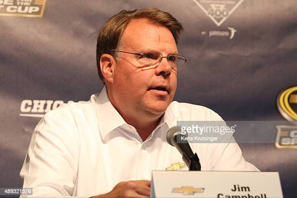 Jim Campbell Chevrolet US vice president of performance vehicles and motorsports speaks at a press conference prior to the NASCAR Sprint Cup Series...