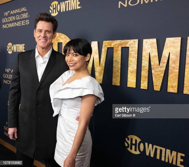 Jim Carrey and Actress Ginger Gonzaga attend the Showtime Golden Globe Nominees Celebration at Sunset Tower Hotel on January 5 2019 in West Hollywood...