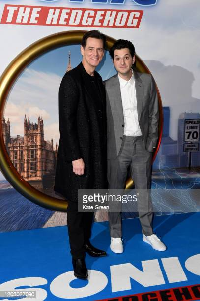 """Jim Carrey and Ben Schwartz attends the """"Sonic The Hedgehog"""" Gala Screening at Vue Westfield on January 30, 2020 in London, England."""