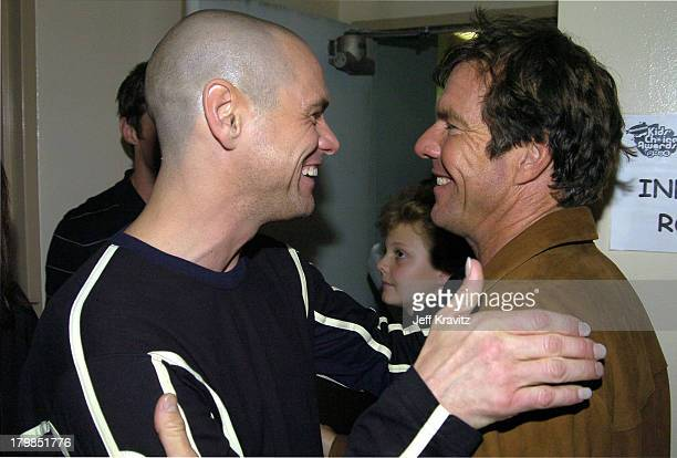 Jim Carrey and Dennis Quaid during Nickelodeon's 17th Annual Kids' Choice Awards Backstage at Pauley Pavillion in Westwood California United States