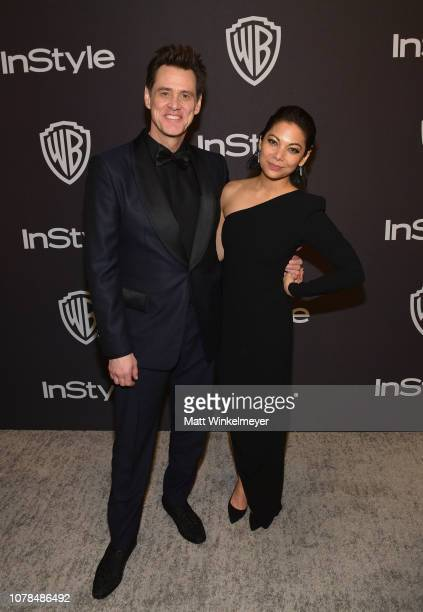 Jim Carrey and Ginger Gonzaga attend the 2019 InStyle and Warner Bros 76th Annual Golden Globe Awards PostParty at The Beverly Hilton Hotel on...