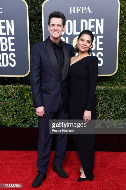 Jim Carrey and Ginger Gonzaga attend the 76th Annual Golden Globe Awards at The Beverly Hilton Hotel on January 6 2019 in Beverly Hills California
