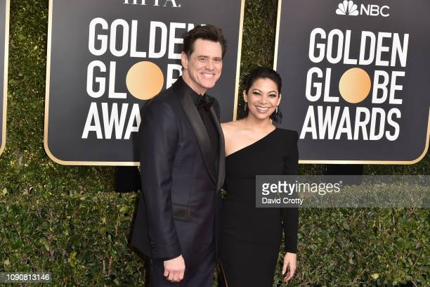 Jim Carrey and Ginger Gonzaga attend the 76th Annual Golden Globe Awards at The Beverly Hilton Hotel on January 06 2019 in Beverly Hills California