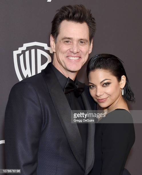 Jim Carrey and Ginger Gonzaga attend the InStyle And Warner Bros Golden Globes After Party 2019 at The Beverly Hilton Hotel on January 6 2019 in...