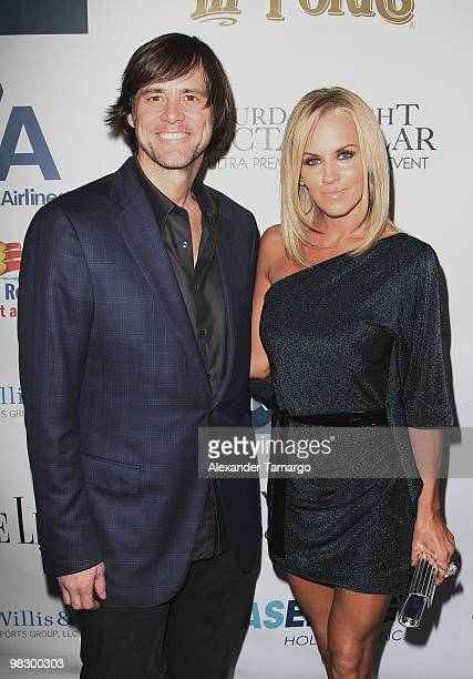 Jim Carrey and Jenny McCarthy attend the 4th annual Saturday Night Spectacular celebration at The Bank of America Tower on February 6 2010 in Miami...