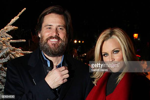 Jim Carrey and Jenny McCarthy attend the world premiere of Disney's 'A Christmas Carol' held at the Odeon Leicester Square on November 3 2009 in...