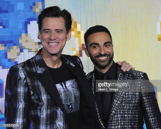 Jim Carrey and Lee Majdoub attend the LA Special Screening Of Paramount's Sonic The Hedgehog held at Regency Village Theatre on February 12 2020 in...