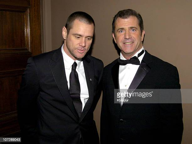 Jim Carrey and Mel Gibson during The 30th Annual People's Choice Awards Backstage and Audience at Pasadena Civic Auditorium in Pasadena California...