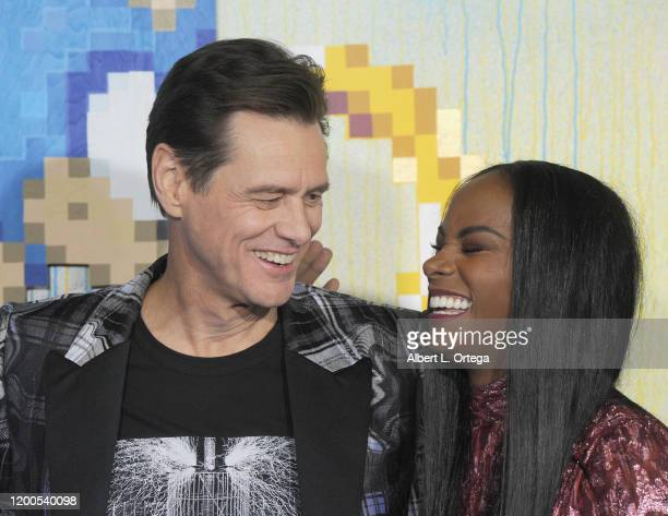 Jim Carrey and Tika Sumpter attend the LA Special Screening Of Paramount's Sonic The Hedgehog held at Regency Village Theatre on February 12 2020 in...