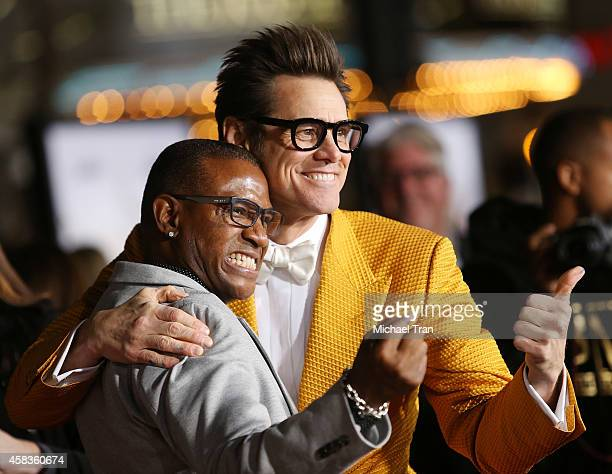 Jim Carrey and Tommy Davidson arrive at the Los Angeles premiere of 'Dumb And Dumber To' held at Regency Village Theatre on November 3 2014 in...