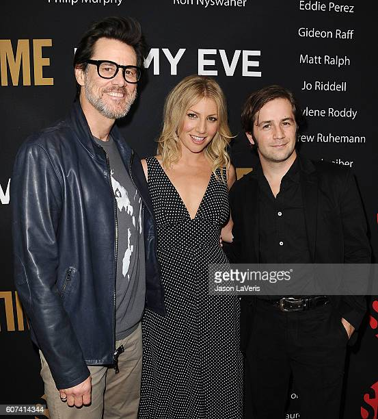 Jim Carrey Ari Graynor and Michael Angarano attend the Showtime Emmy eve party at Sunset Tower on September 17 2016 in West Hollywood California