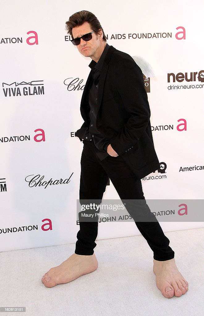 Jim Carrey arrives at the 21st Annual Elton John AIDS Foundation Academy Awards Viewing Party at Pacific Design Center on February 24, 2013 in West Hollywood, California.