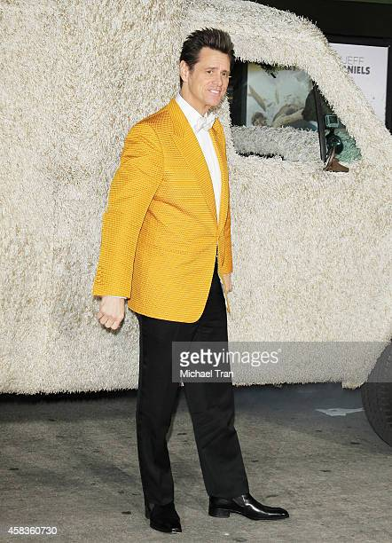 Jim Carrey arrives at the Los Angeles premiere of 'Dumb And Dumber To' held at Regency Village Theatre on November 3 2014 in Westwood California