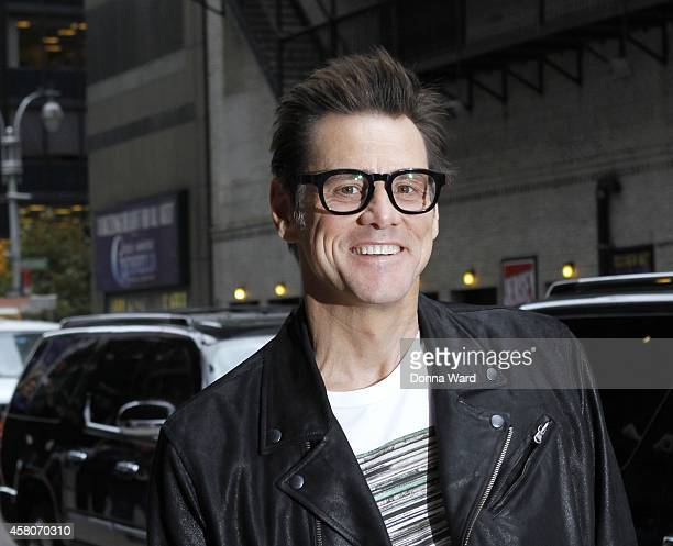 Jim Carrey arrives for the 'Late Show with David Letterman' at Ed Sullivan Theater on October 29 2014 in New York City