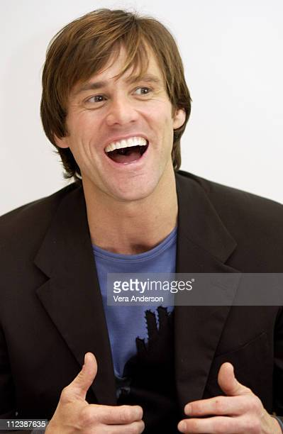 Jim Carrey during Bruce Almighty Press Conference with Jim Carrey and Tom Shadyac at The Four Seasons Hotel in Beverly Hills California United States
