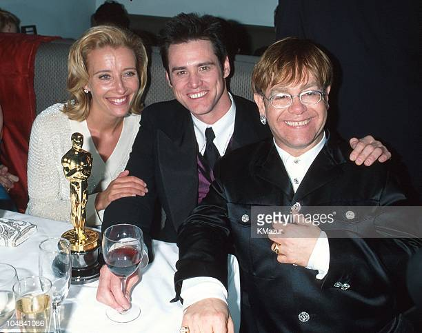 Jim Carrey Emma Thompson and Elton John during The 68th Annual Academy Awards Elton John AIDS Foundation Party in Los Angeles California United States