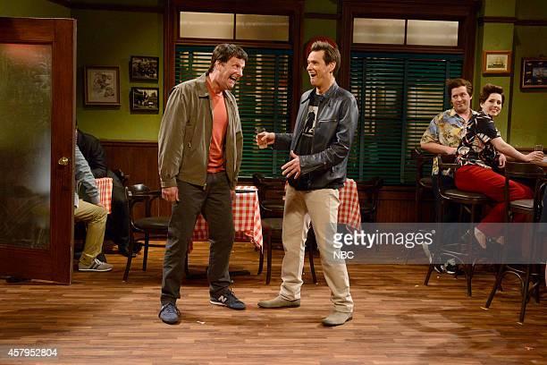 LIVE Jim Carrey Episode 1666 Pictured Jeff Daniels as Grandpa Lloyd Jim Carrey Beck Bennett as John Carrey and Vanessa Bayer as Rita Carrey during...